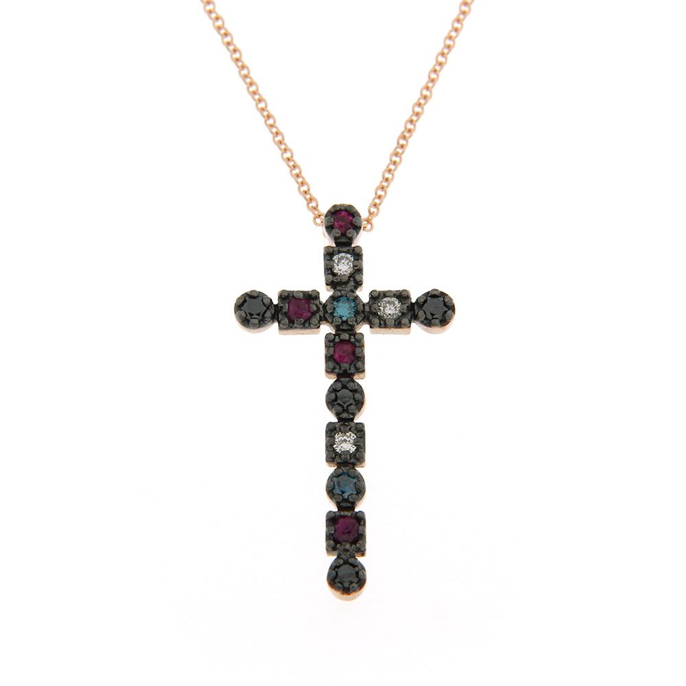 Cruce Cu Diamante Colorate Si Rubin