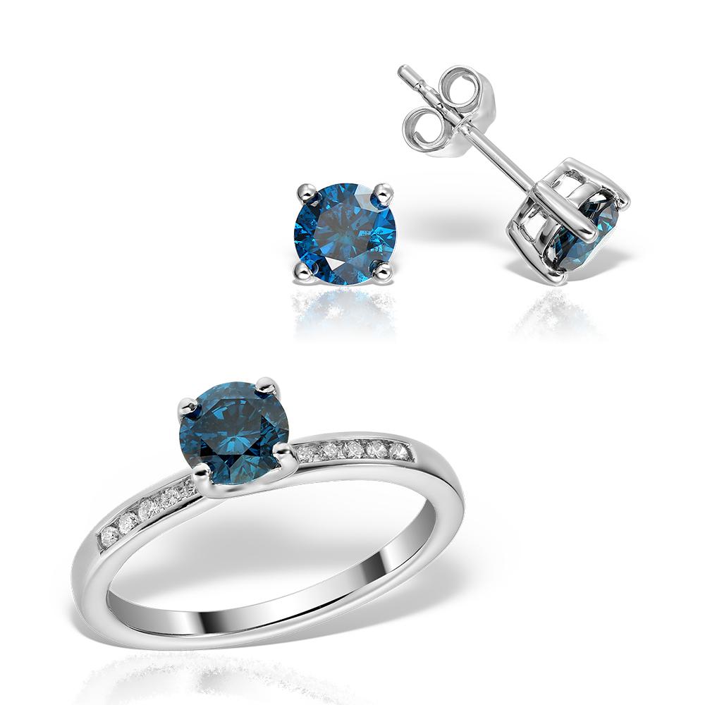 Bijuterii set cu diamante albastre