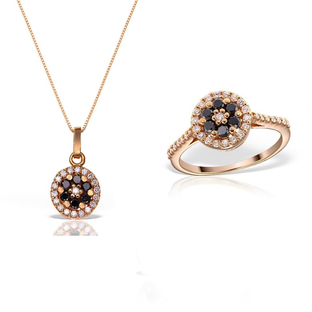 Bijuterii set cu diamante albe si negre
