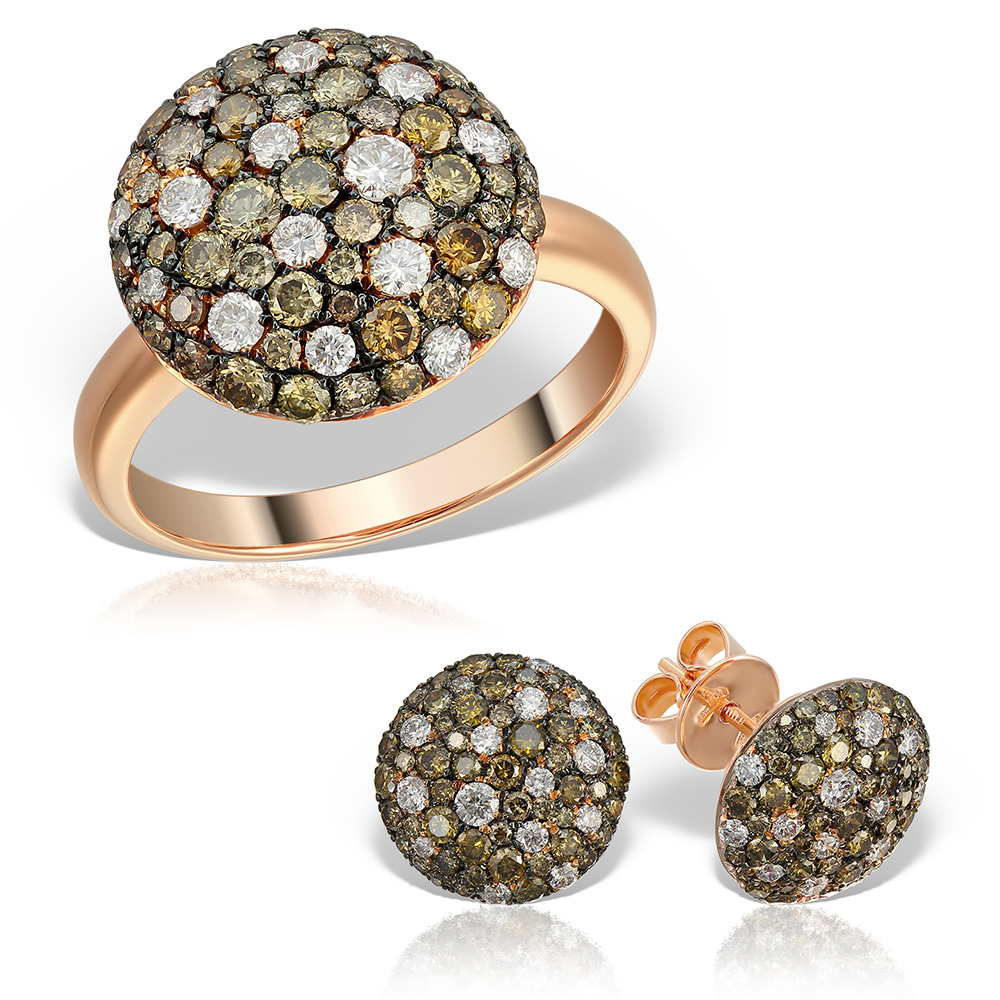 Bijuterii set cu diamante colorate