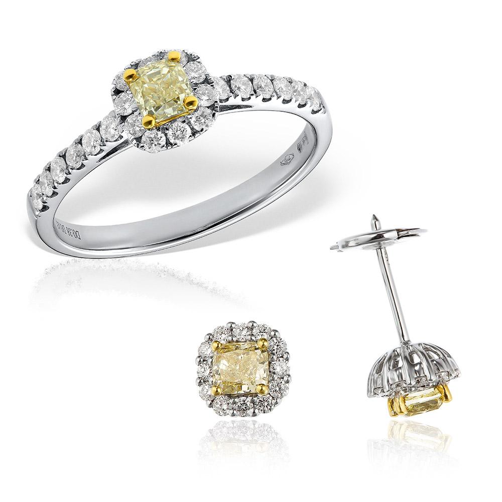 Bijuterii set cu diamante galbene