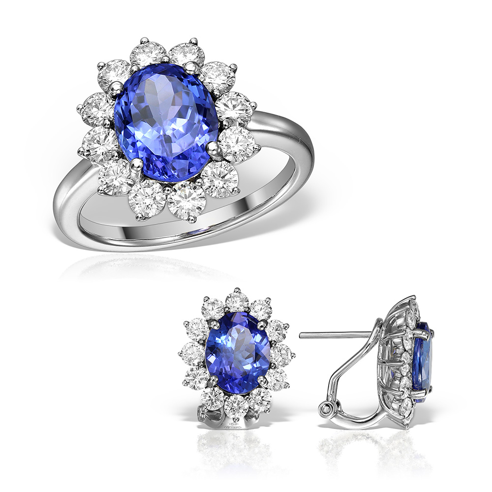 Bijuterii Set Cu Tanzanit Si Diamante