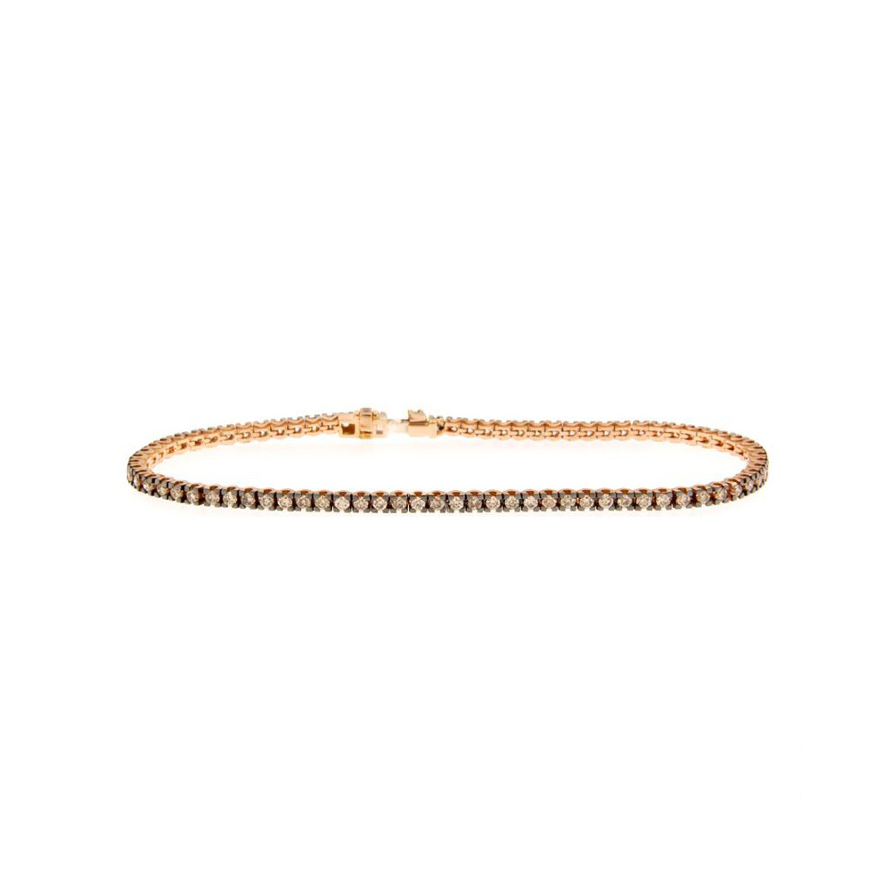 Bratara tennis din aur roz 18k cu diamante brown