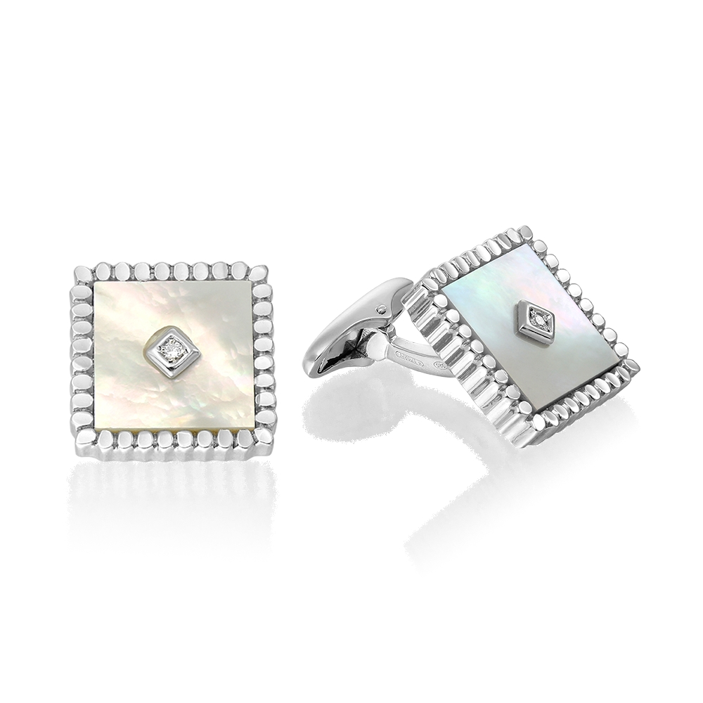 Butoni Argint Cu Diamante