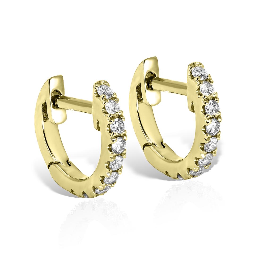 Cercei aur galben cu diamante