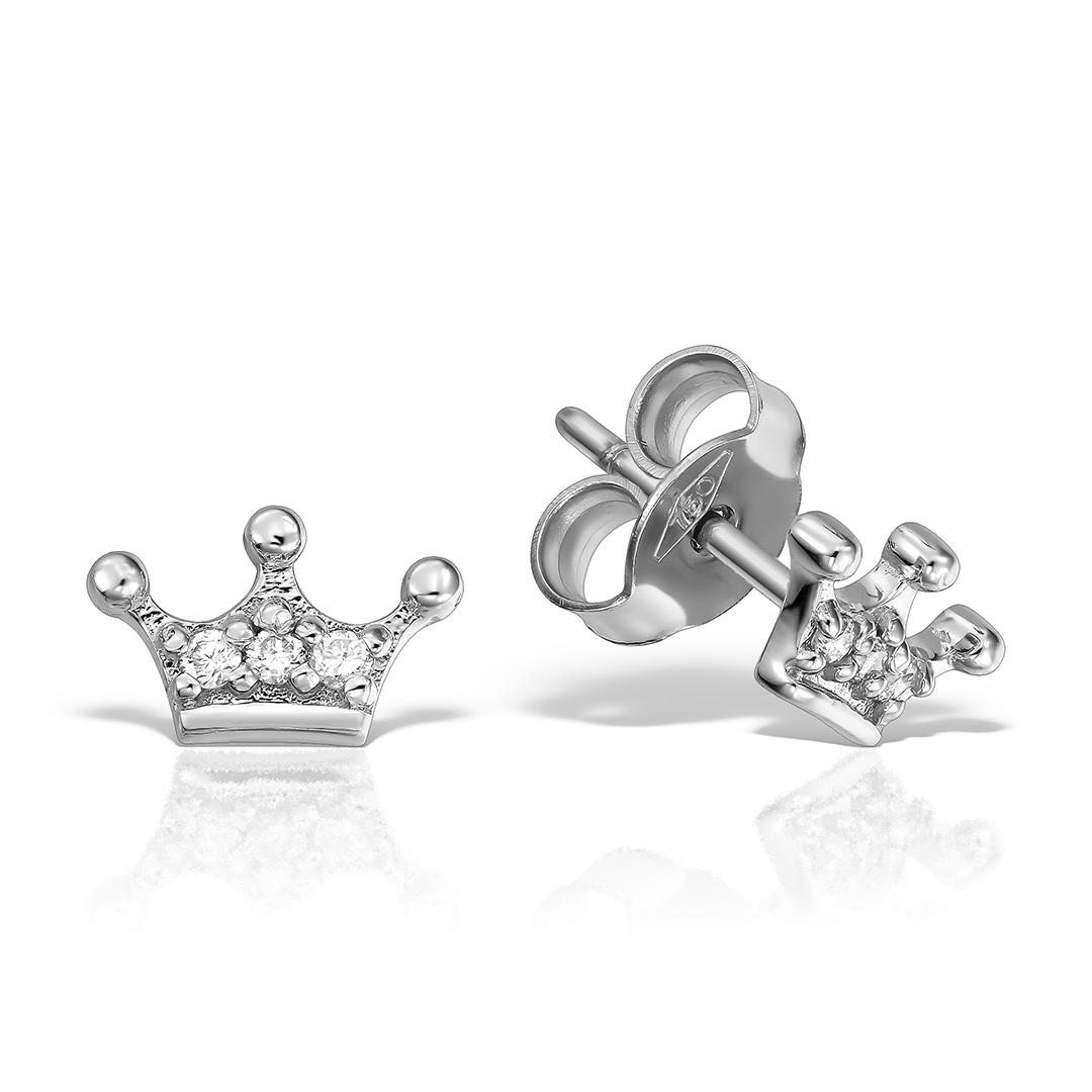 Cercei coronite 18k cu diamante