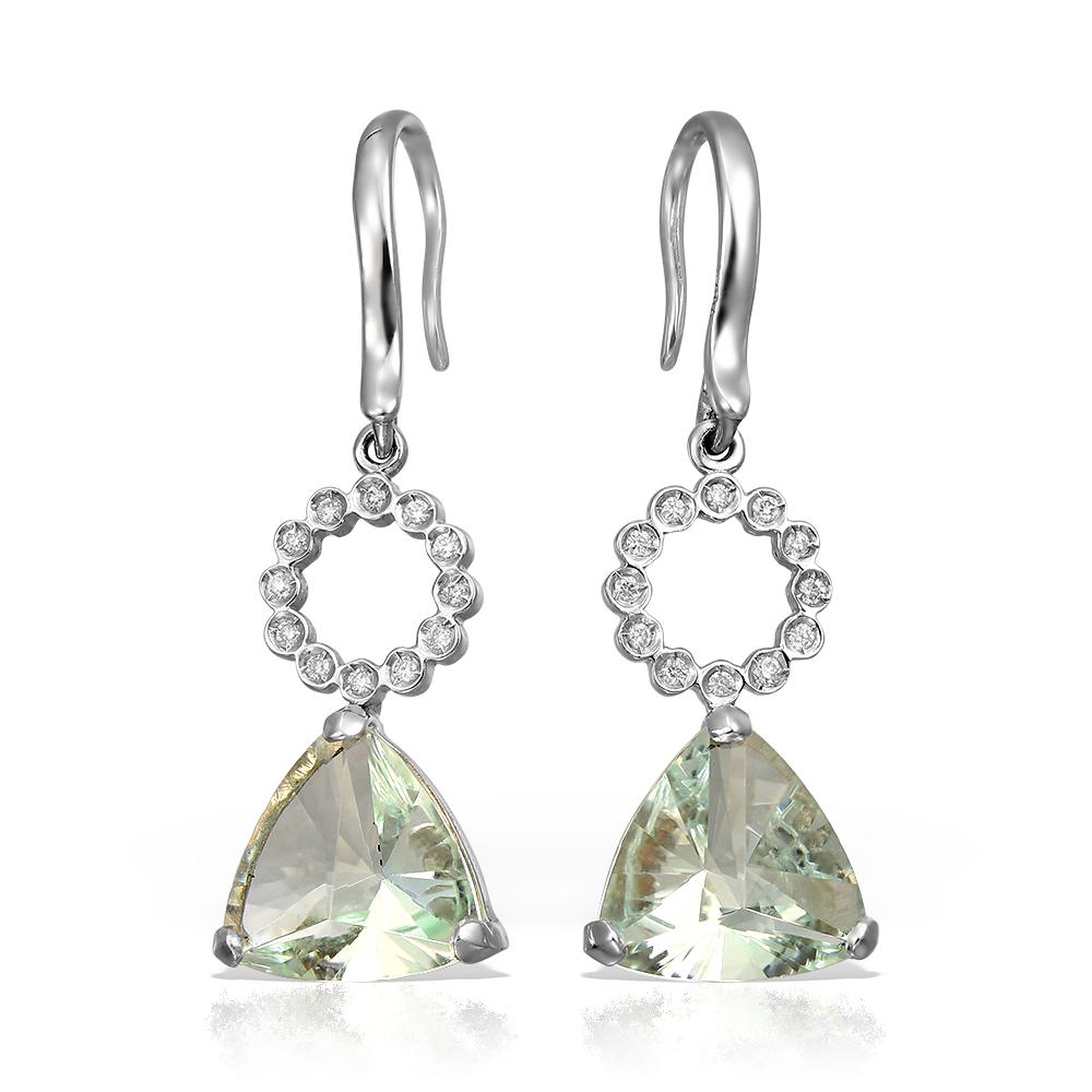 Cercei cu aquamarine si diamante 18k