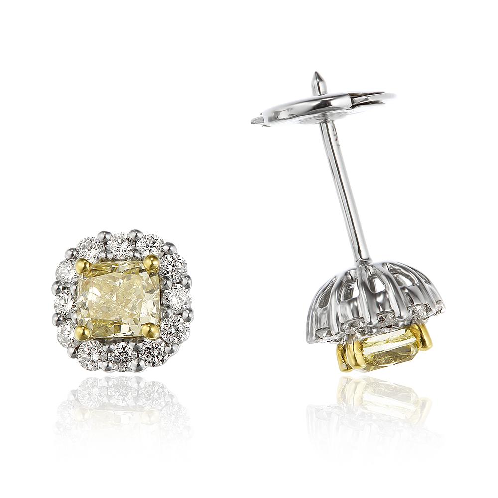 Cercei cu diamante galbene