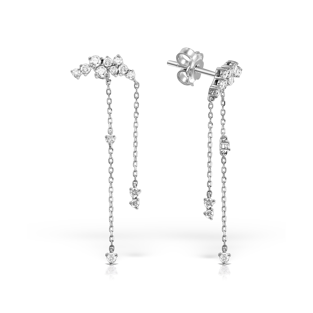 Cercei din aur alb 18k cu diamante