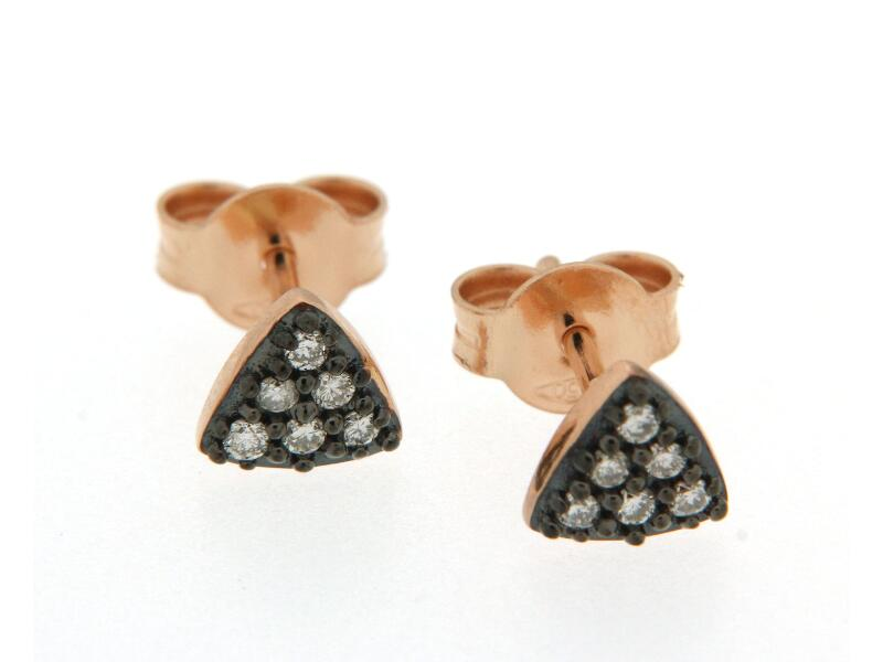 Cercei din aur roz 18k cu diamante brown