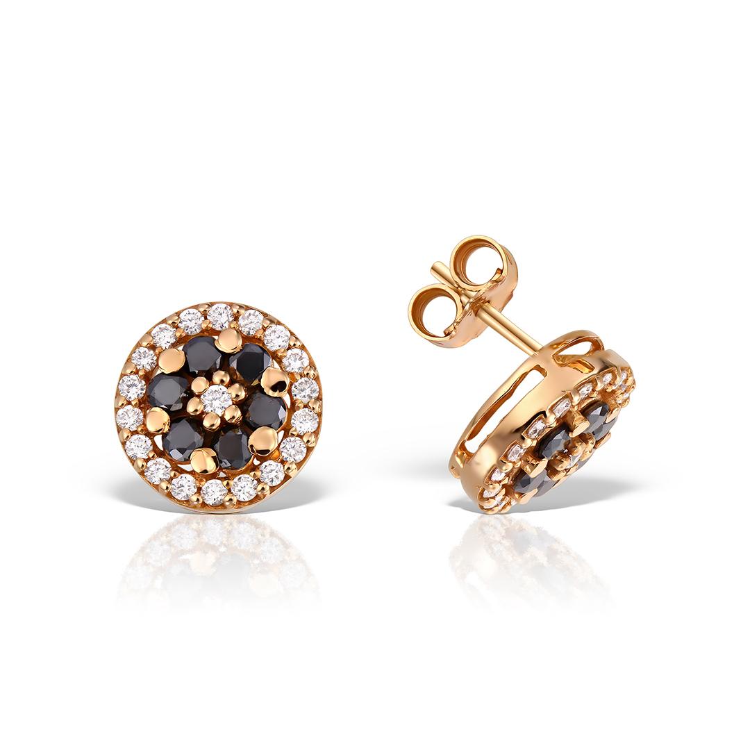 Cercei din aur roz 18k cu diamante negre