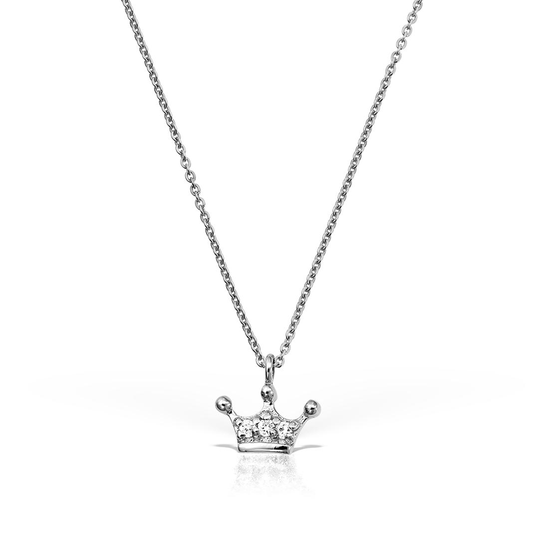 Colier Coronita Din Aur Alb Cu Diamante