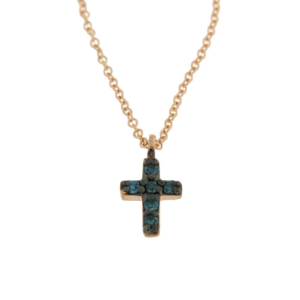 Colier cruce cu diamante albastre