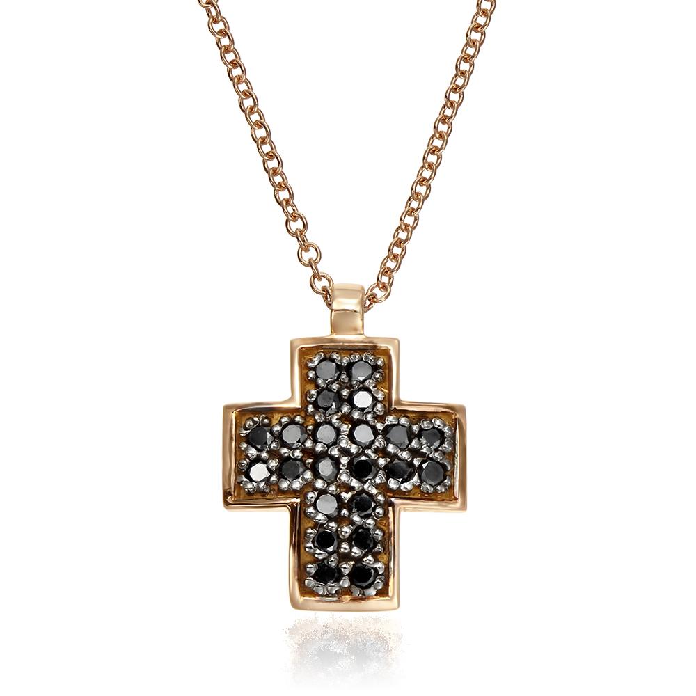Colier cruce cu diamante negre