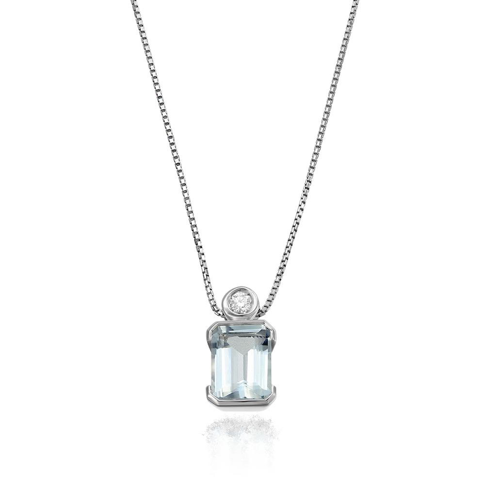 Colier cu diamant si aquamarin