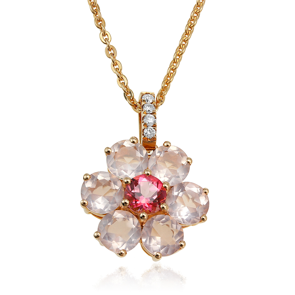 Colier cu diamante si quartz roz