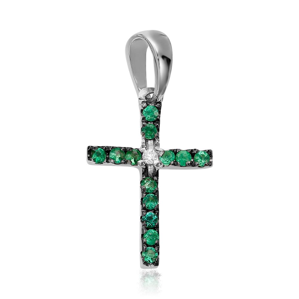 Cruce cu diamant si smaralde