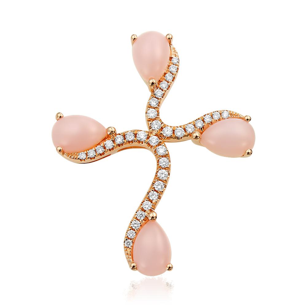 Cruce cu diamante si opal roz
