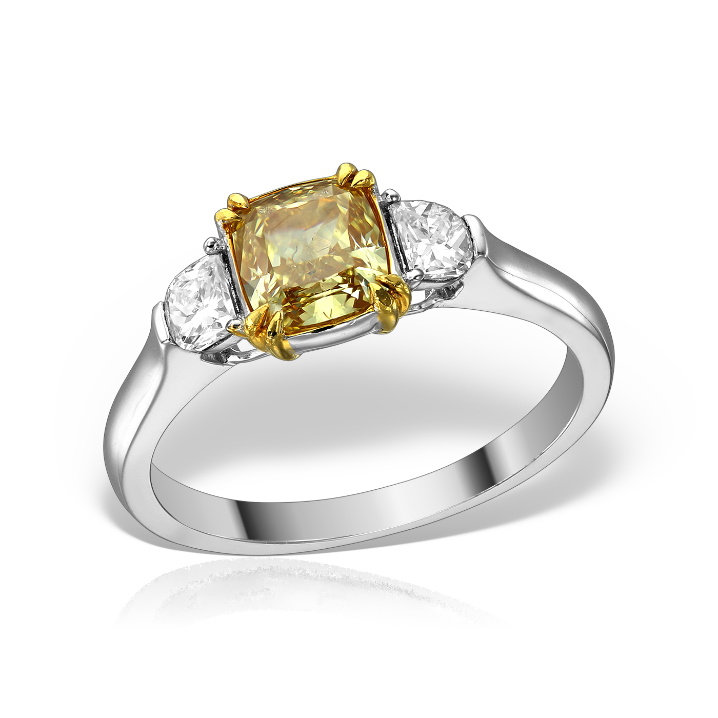 Inel cu diamant natural galben
