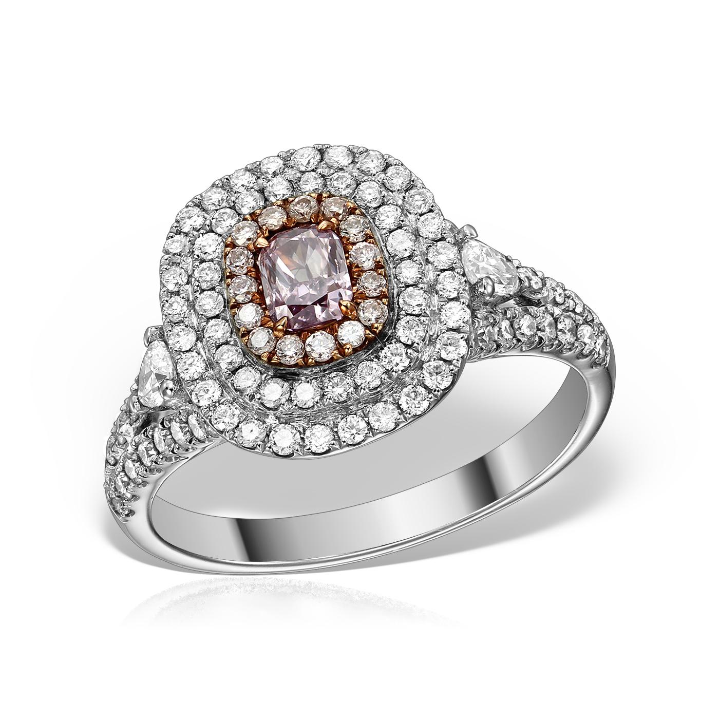 Inel Cu Diamant Natural  Roz