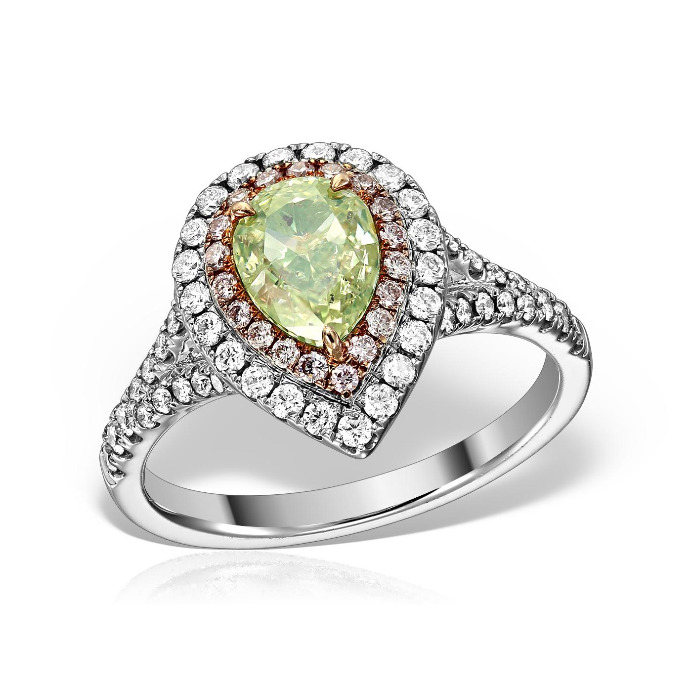 Inel Cu Diamant Natural Verde Galbui
