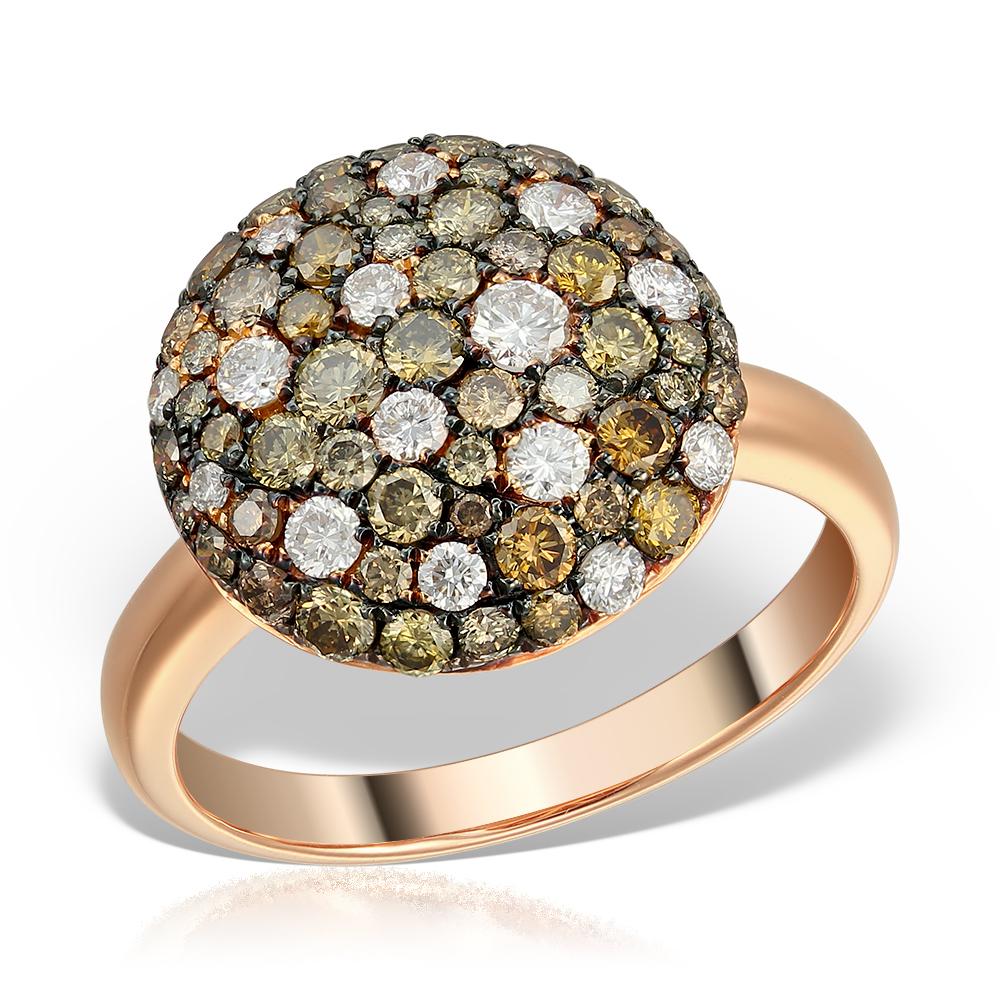 Inel cu diamante colorate