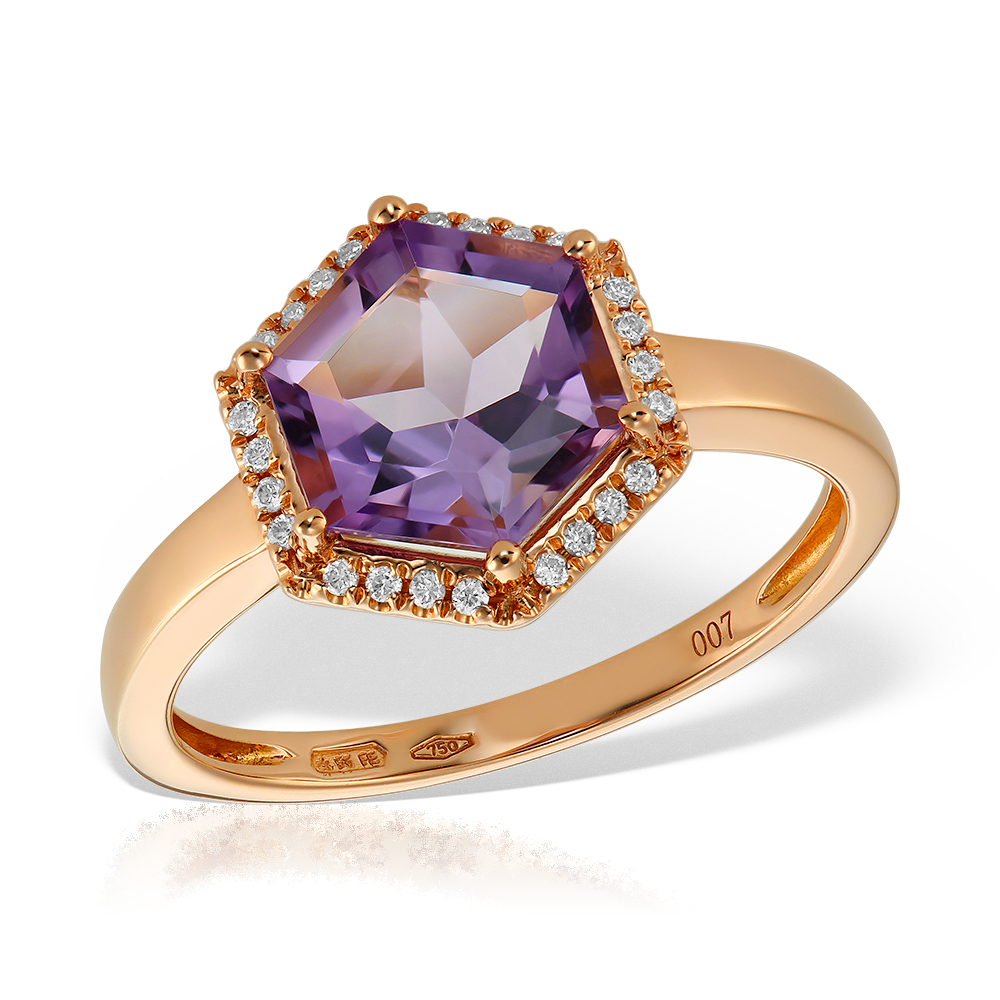 Inel Cu Diamante Si Ametist