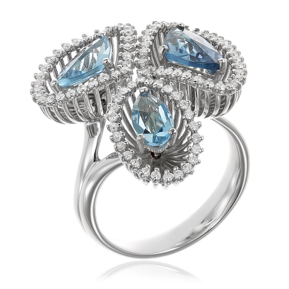 Inel  cu diamante si topaze bleu