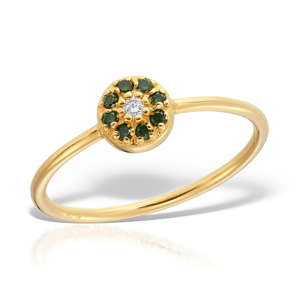 Inel Cu Diamante Verzi