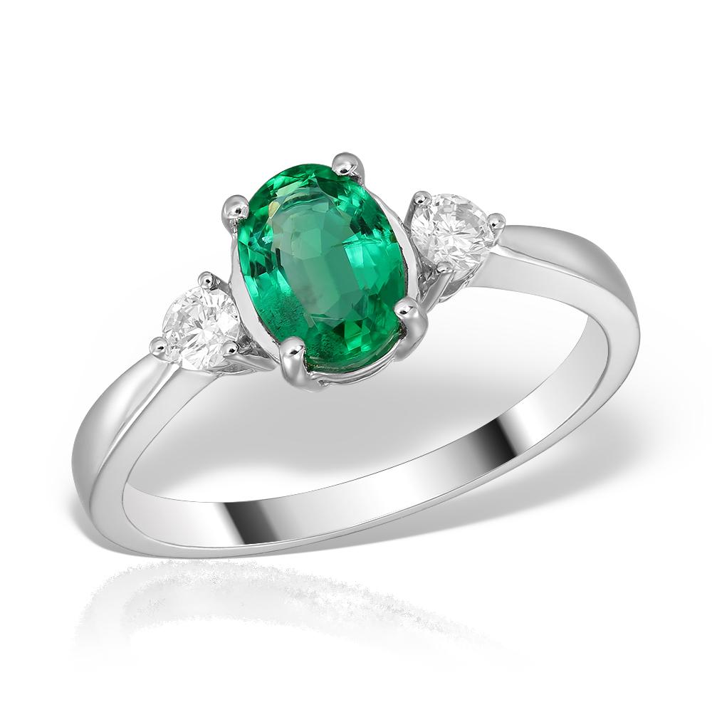 Inel de logodna aur alb cu smarald oval si diamante