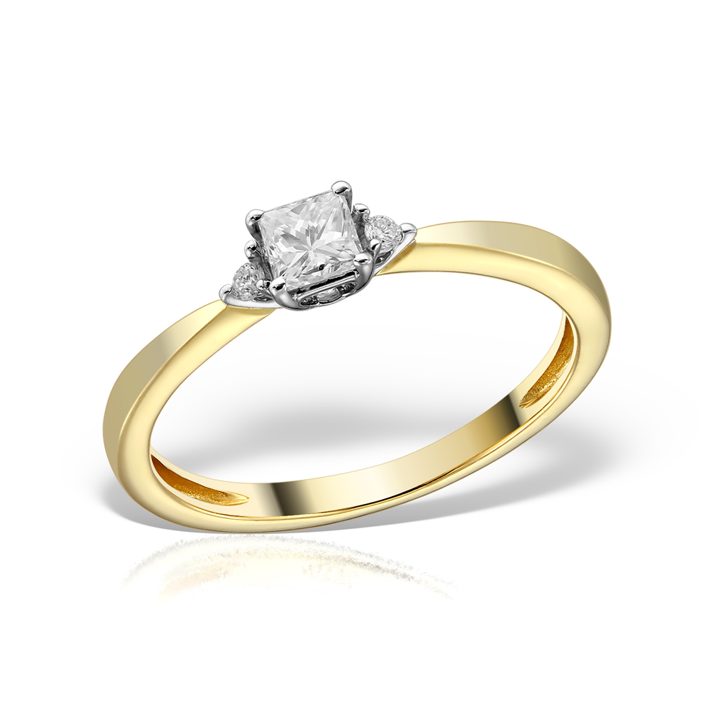 Inel de logodna aur galben cu diamante