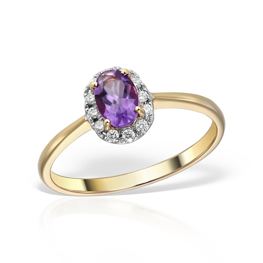 Inel de logodna cu ametist si diamante
