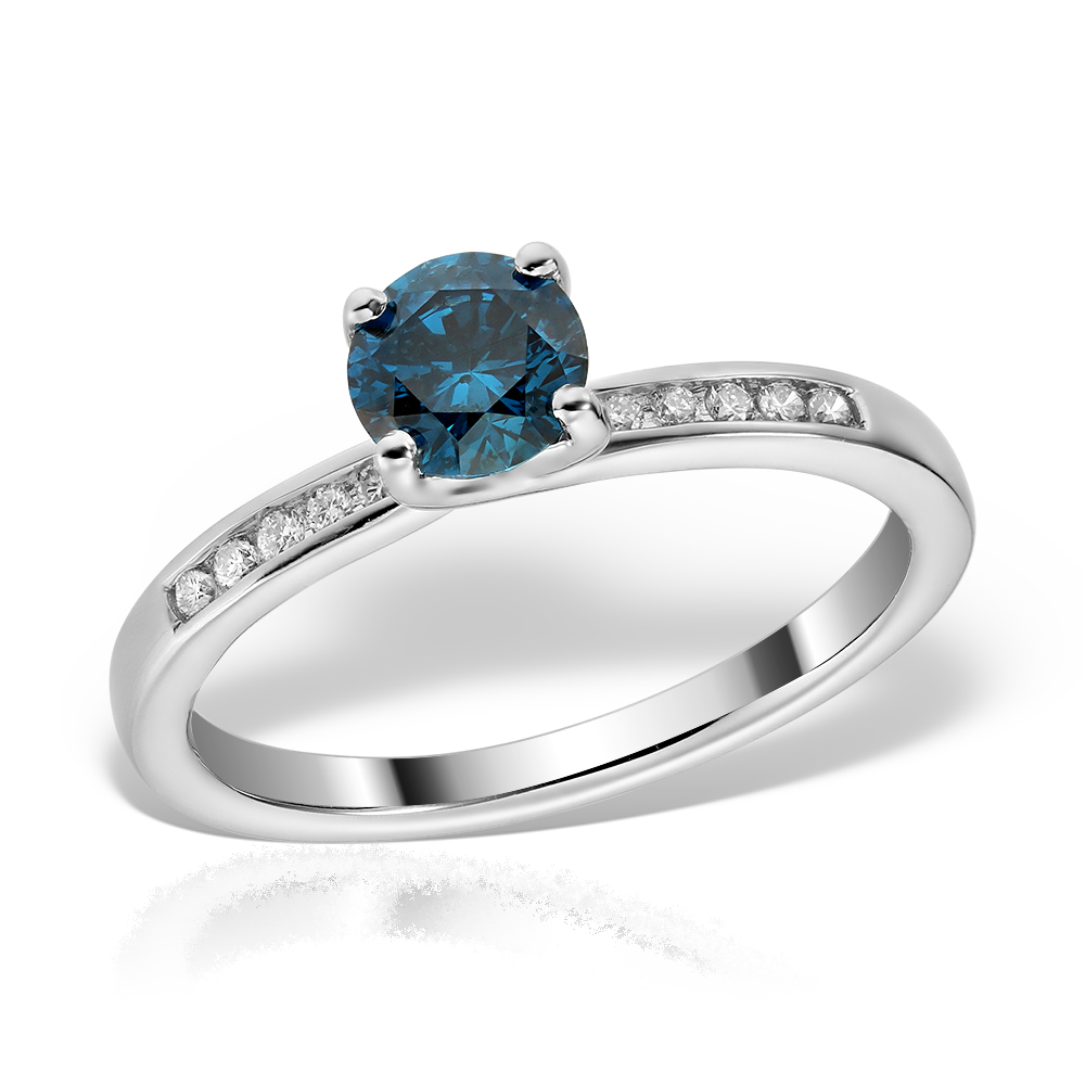 Inel de logodna cu diamant albastru