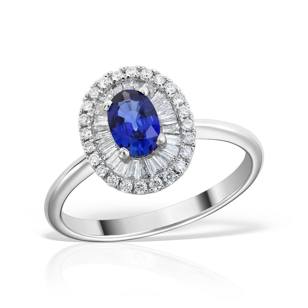 Inel de logodna cu safir oval si diamante