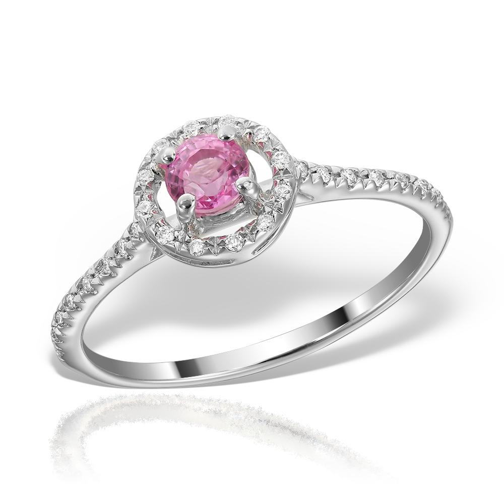 Inel De Logodna Cu Safir Roz Si Diamante