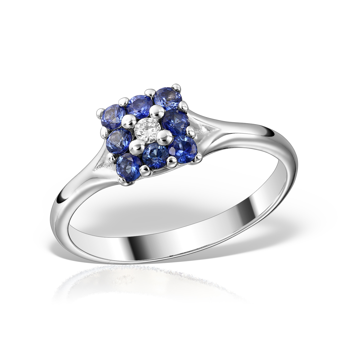 Inel de logodna cu safir si diamant