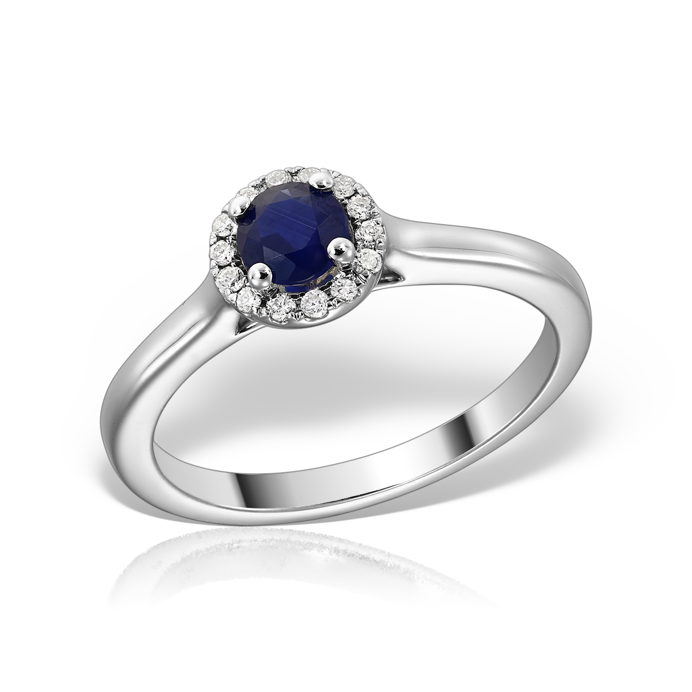Inel de logodna cu safir si diamante