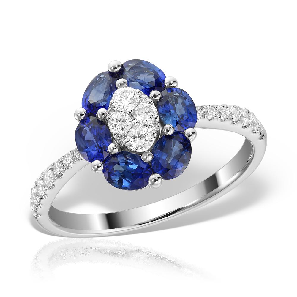 Inel de logodna cu safire si diamante