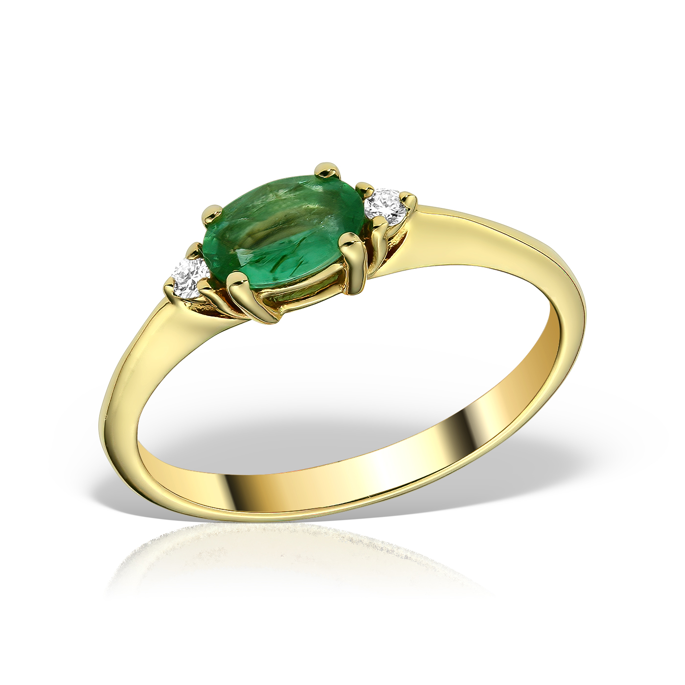Inel de logodna cu smarald si diamante