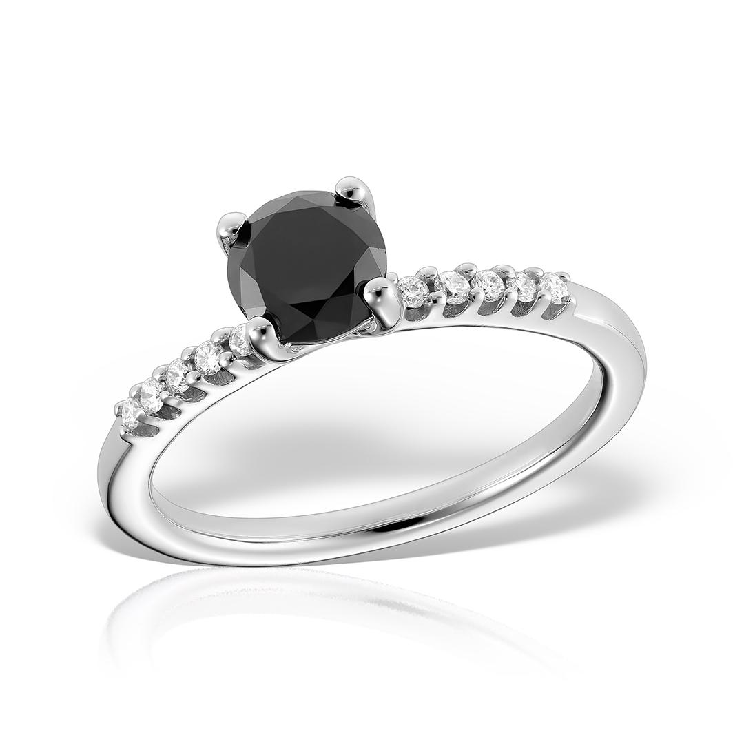 Inel de logodna din aur alb cu diamant negru