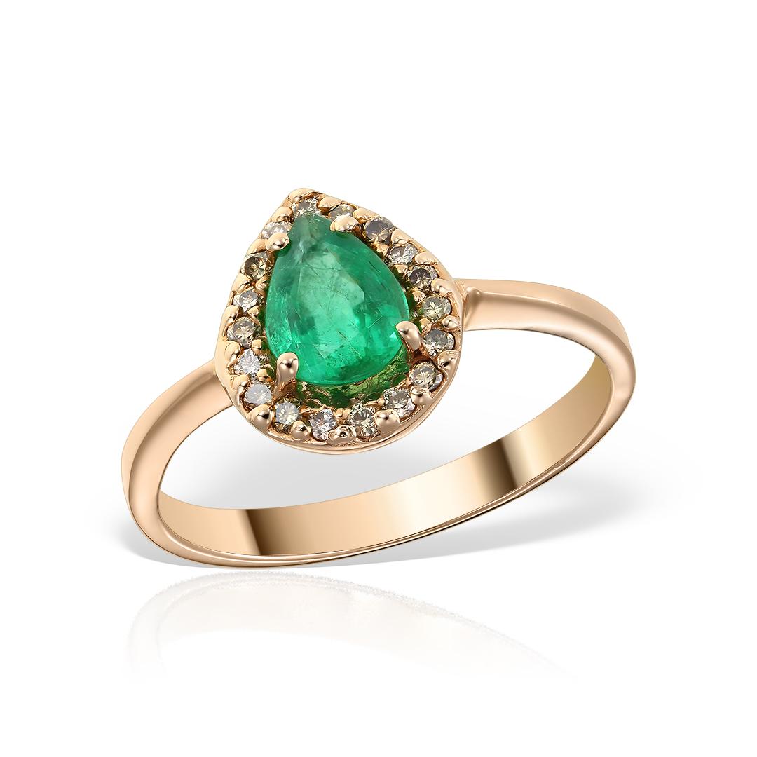Inel de logodna din aur roz cu smarald si diamante brown