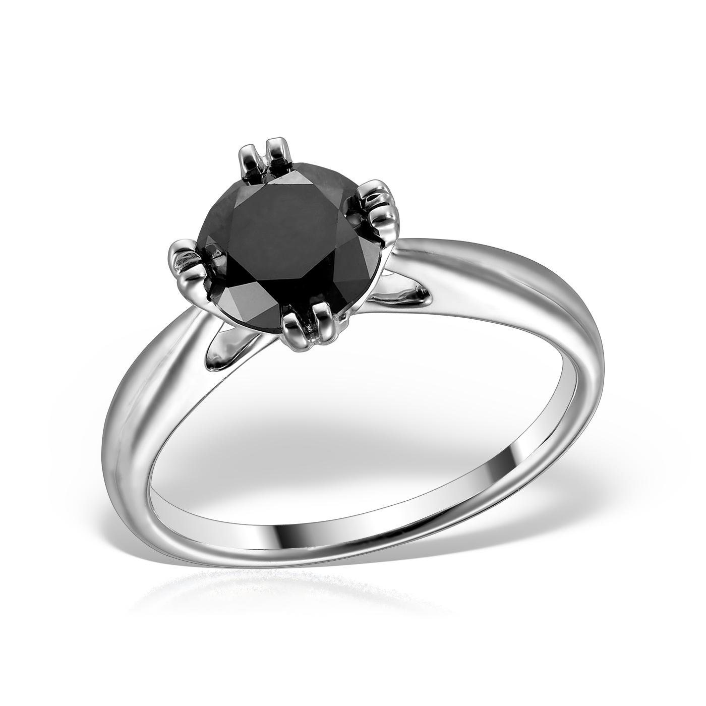 Inel de logodna solitaire cu diamant negru