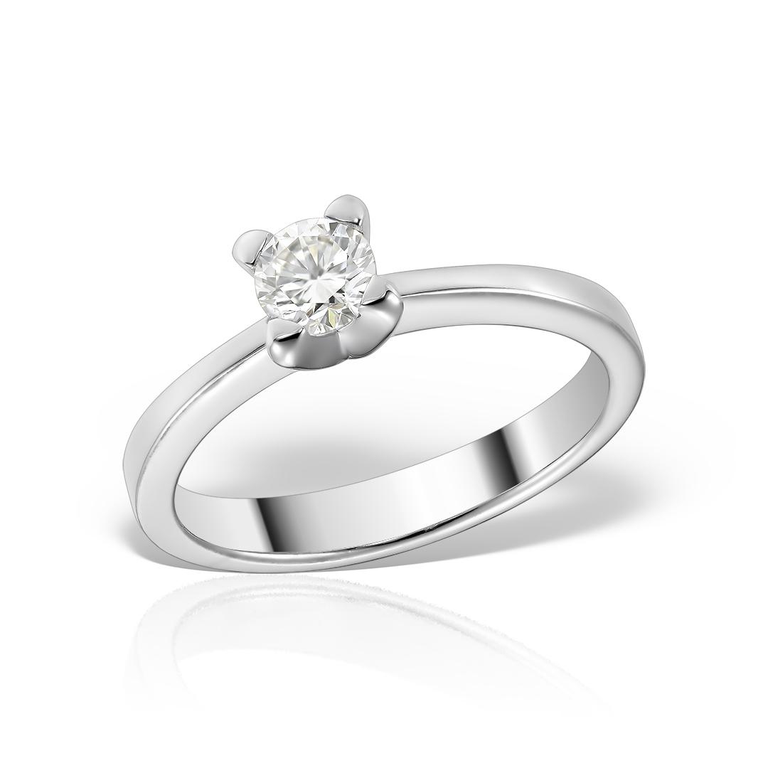 Inel De Logodna Solitaire Din Aur Alb Cu Diamant