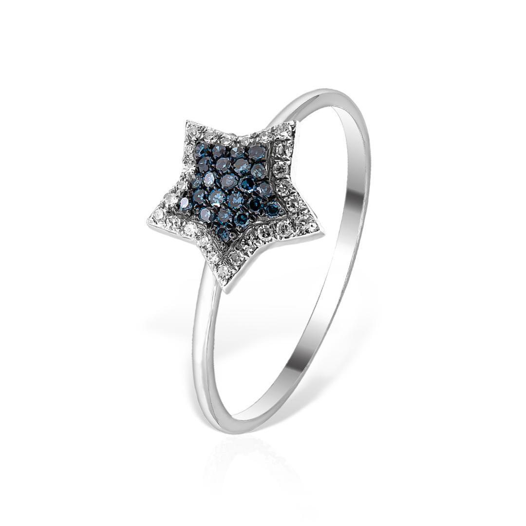 Inel din aur alb cu diamante albastre