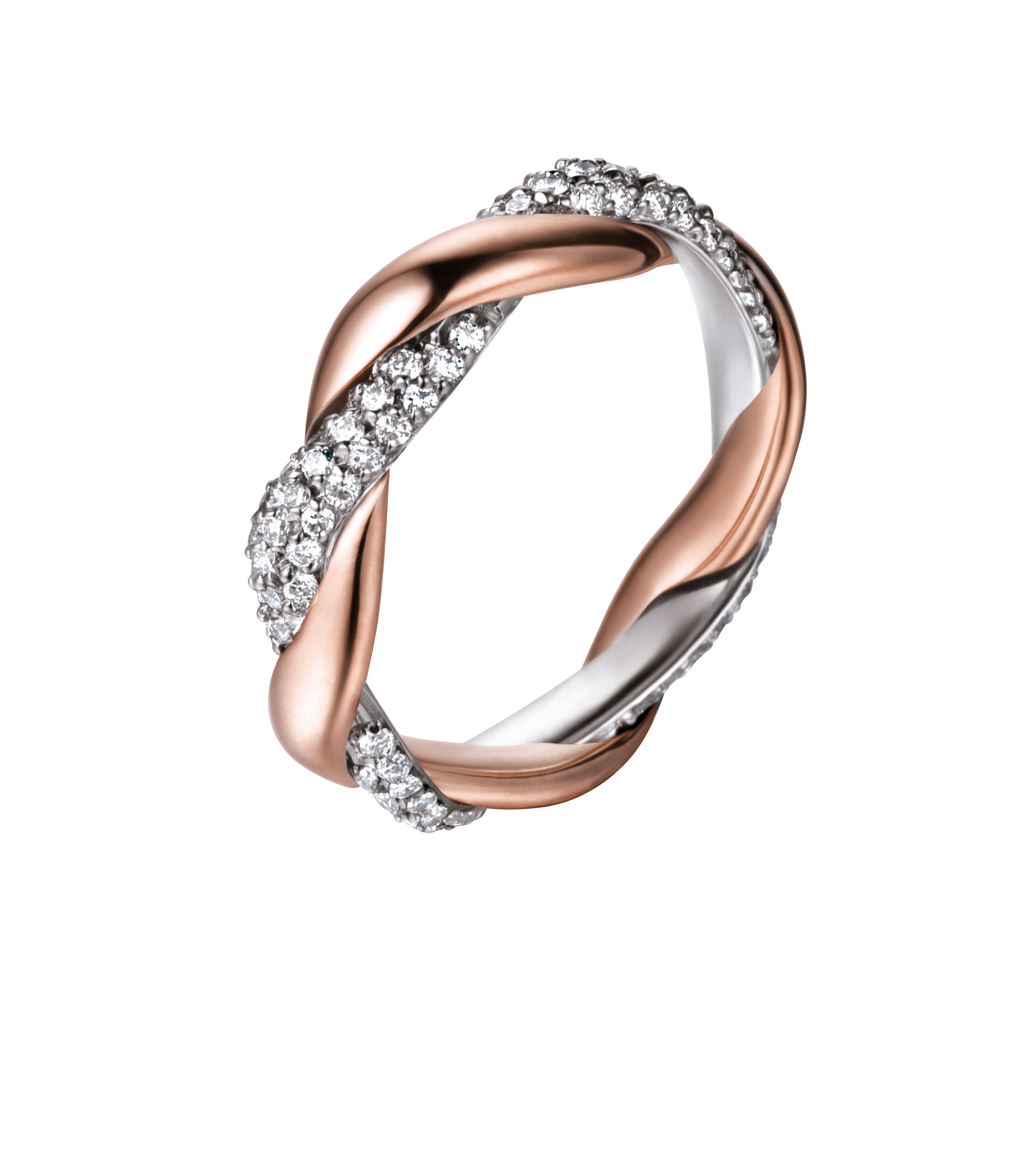 Inel din aur alb si roz cu diamante