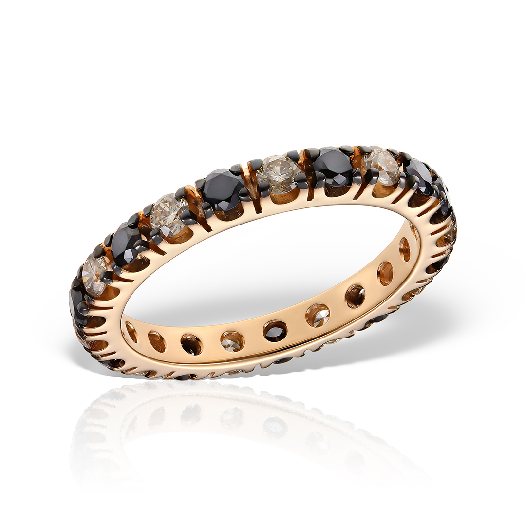 Inel Eternity cu diamante brown&black