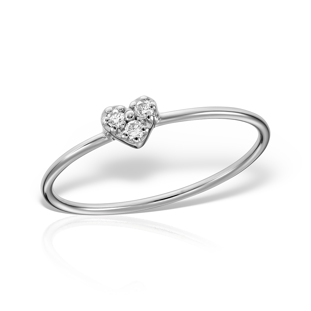Inel heart shaped cu diamante