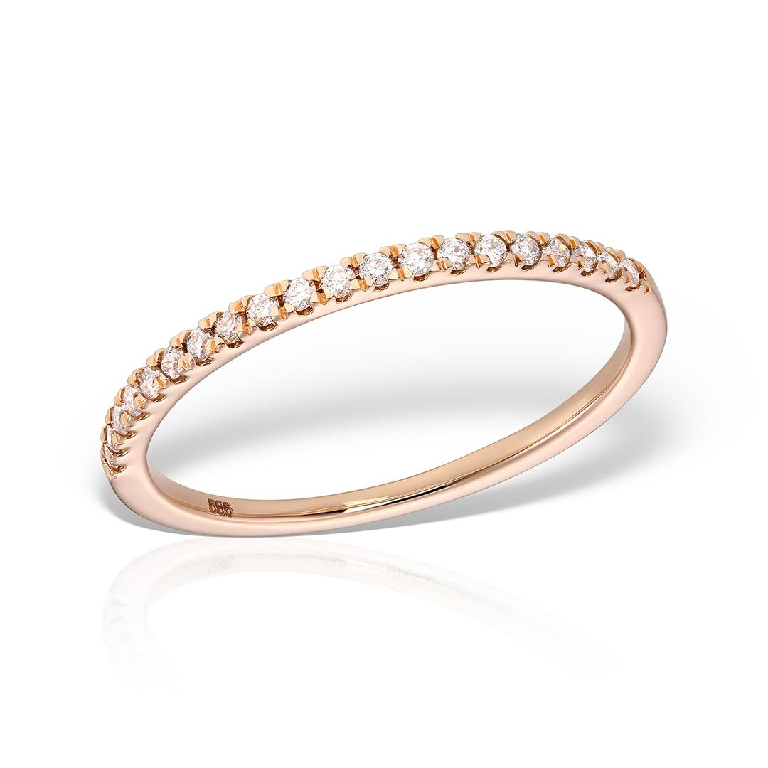 Inel semi eternity aur roz cu diamante