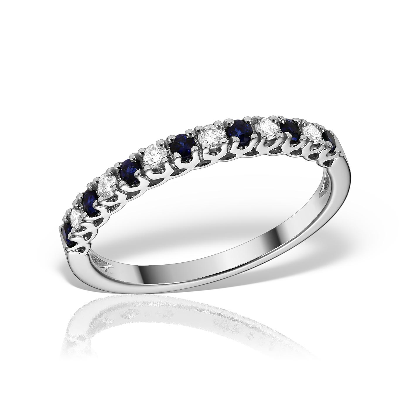 Inel semieternity cu diamante si safire