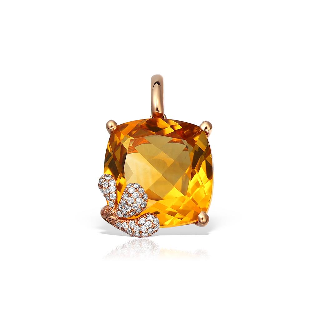 Pandantiv aur cu citrin si diamante